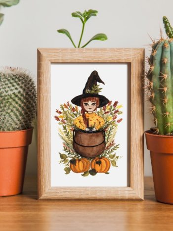 Witch with pumpkin post card print