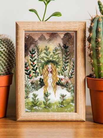 Winter snow queen watercolor art print by warmsquirrel