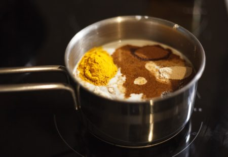 Spices of turmeric latte preparation