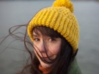 Girl with a mustard colored vegan beanie by WarmSquirrel