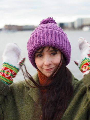Girl with long hair wearing a Violet colored vegan beanie by warmsquirrel