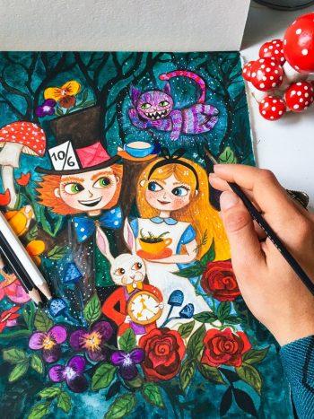 Alice in wonderland watercolor portrait by warmsquirel