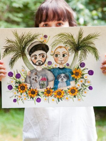watercolor portrait painting of a gay couple with pets