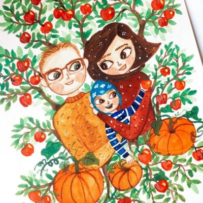 An Autumn inspired custom watercolor family portrait of a Father and Mother with their little child.
