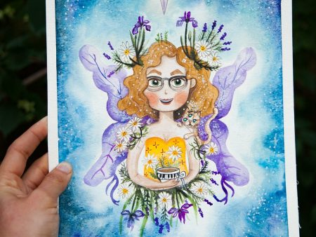 Custom Watercolor portrait of a fairy girl