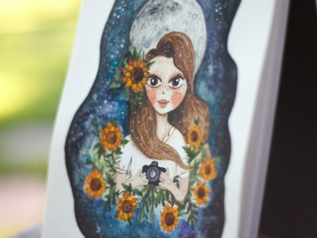 Custom watercolor portrait of a girl with the full moon in the background.