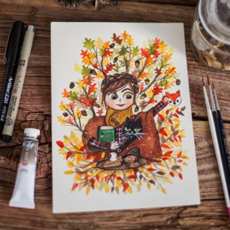 Custom watercolor portrait of a woman and her cat in autumn colours.