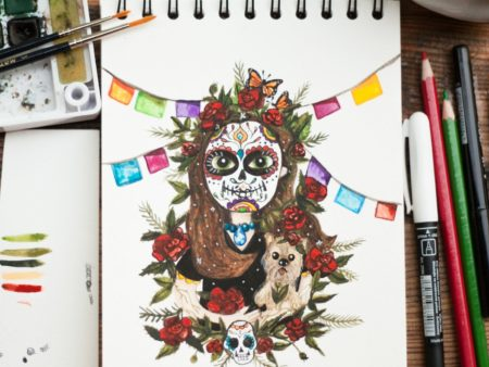 Custom watercolor portrait of a girl with a Mexican sugar skull face paint. Painted by warmsquirrel