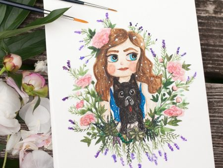 Custom watercolor portraits of a girl surrounded by roses holding her black pet dog.