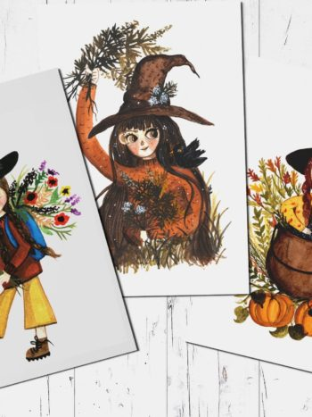 Postcard set of htee cute witches and their plants by warmsquirrel