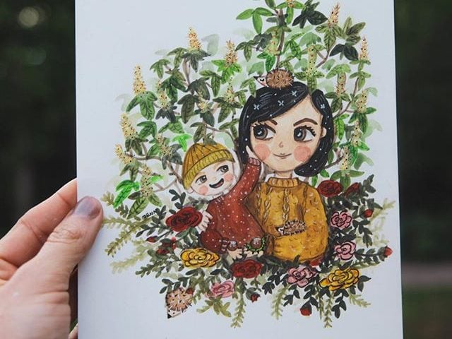 Custom watercolor portrait of a mother holding her son by warmsquirrel