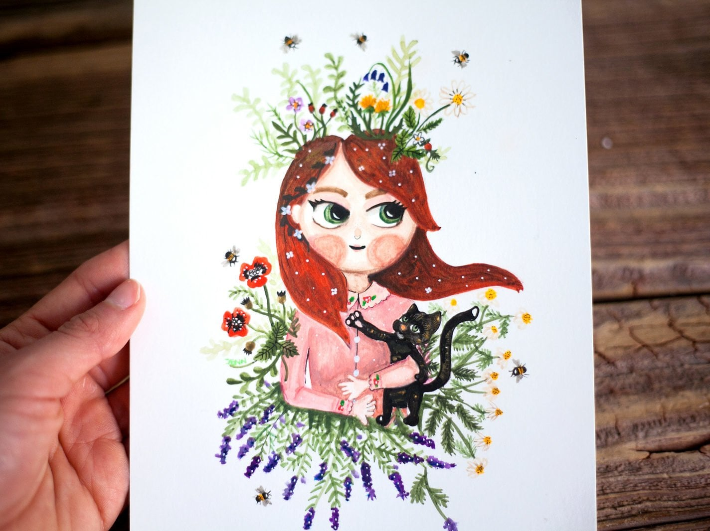 Custom watercolor portrait of a redhead girl with her black cat.