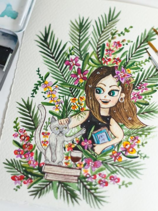 Warmsquirrel Custom Watercolor Portrait Girl With Orchids And Cat