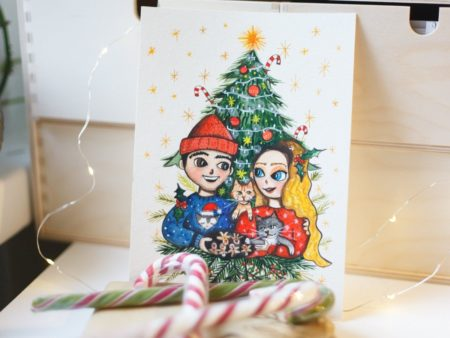 Custom watercolor portrait of a couple in christmas spirit, wearing cozy sweaters next to a christmas tree.