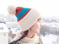 Color Block Vegan Beanie Copper Tea Beige Side View2by Warmsquirrel