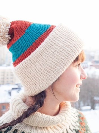 Colorblock vegan double brimmed beanie