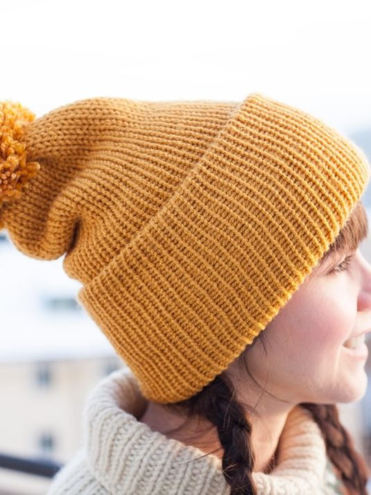 Mustard-Vegan-Beanie-with-pompom