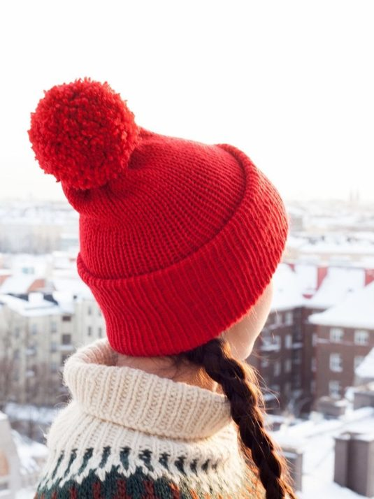 Red Vegan Beanie With Pompom By Warmsquirrel
