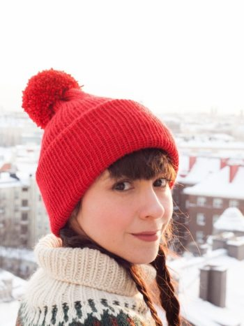 Red Vegan Beanie With Pompom Side By Warmsquirrel