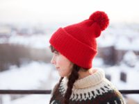 side left picture of Red Vegan Beanie With Pompom Side By Warmsquirrel