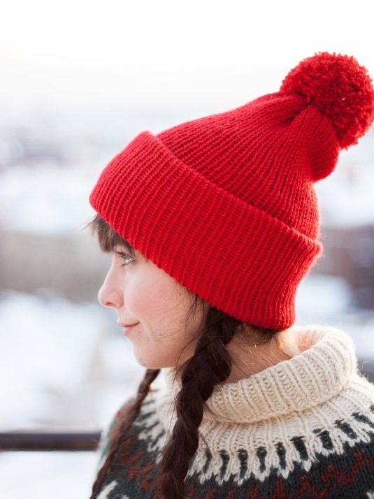 Red Vegan Beanie With Pompom Side2 By Warmsquirrel