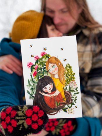 Warmsquirrel Custom Watercolor Portrait Valentines Day
