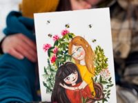 Warmsquirrel Custom Watercolor Portrait Valentines Day
