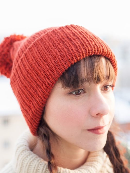 copper double brimmed Vegan Beanie By Warmsquirrel front View