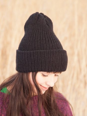 Black vegan double brimmed beanie