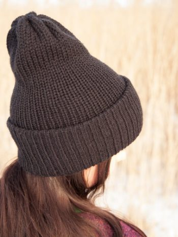 Solid Color Knitted Vegan Double Brim Beanie With Pompom