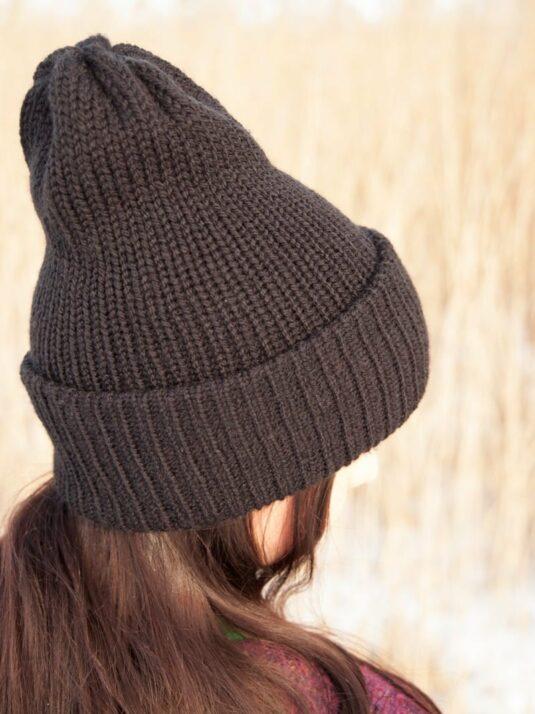 WarmSquirrel Beanie Knitted Black 1076