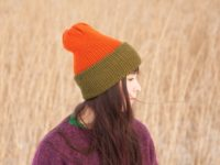 WarmSquirrel Beanie Knitted Colorblock Green Orange 1045