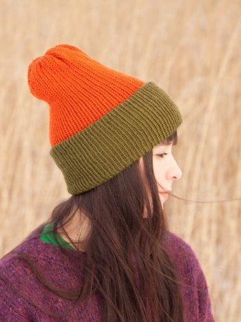 WarmSquirrel Beanie Knitted Colorblock Green Orange 1045