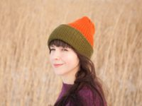WarmSquirrel Beanie Knitted Colorblock Green Orange 1047