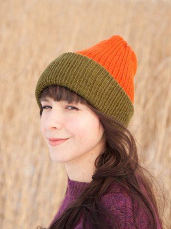 WarmSquirrel Beanie Knitted Colorblock Green Orange 1047