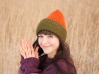WarmSquirre Beanie Knitted Colorblock Green Orange