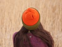 Colorblock green and copper vegan double brimmed beanie