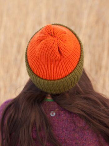 WarmSquirrel Beanie Knitted Colorblock Green Orange 1051