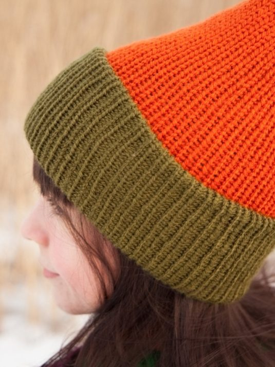 WarmSquirrel Beanie Knitted Colorblock Green Orange 1054