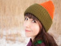 WarmSquirrel Beanie Knitted Colorblock Green Orange 1056