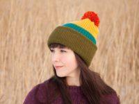 WarmSquirrel Beanie Knitted Colorblock Green Teal Mustard Orange 1059