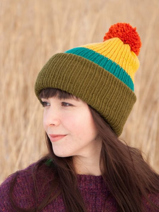 WarmSquirrel Beanie Knitted Colorblock Green Teal Mustard Orange 1059