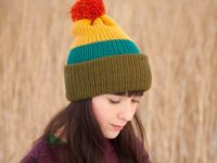WarmSquirrel Beanie Knitted Colorblock Green Teal Mustard Orange 1061
