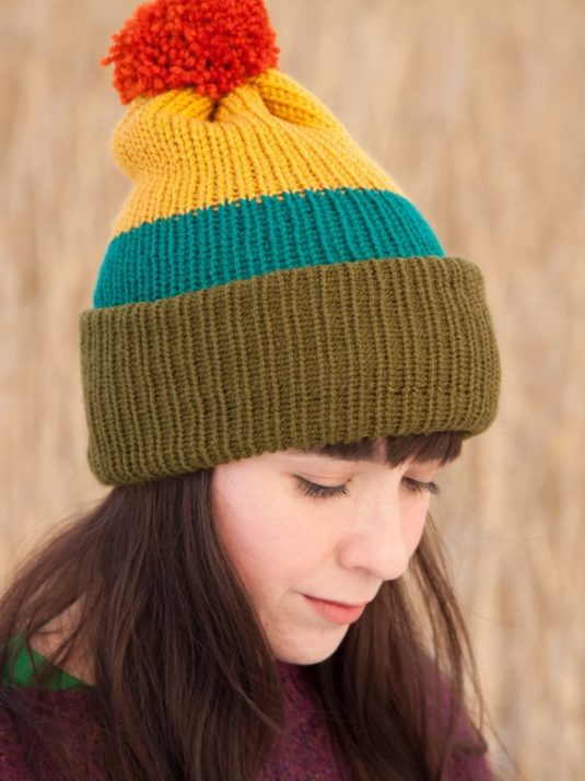 WarmSquirrel Beanie Knitted Colorblock Green Teal Mustard Orange 1061