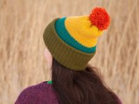 WarmSquirrel Beanie Knitted Colorblock Green Teal Mustard Orange 1062