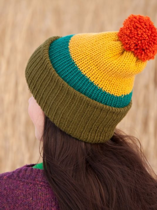 WarmSquirrel Beanie Knitted Colorblock Green Teal Mustard Orange 1062