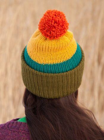 WarmSquirrel Beanie Knitted Colorblock Green Teal Mustard Orange 1063