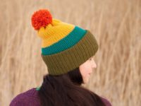 WarmSquirrel Beanie Knitted Colorblock Green Teal Mustard Orange 1064