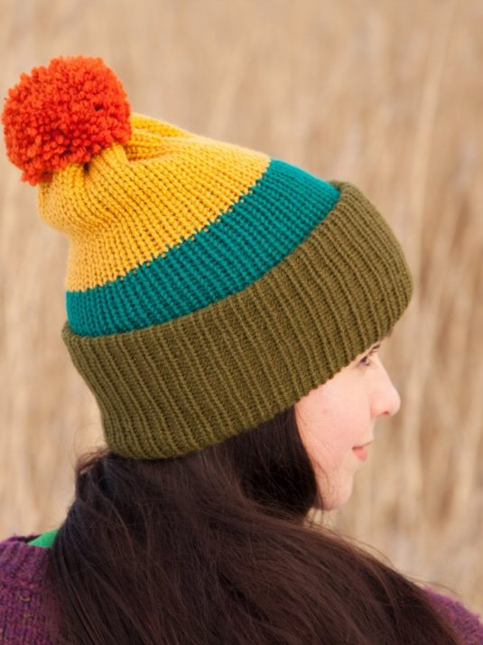 WarmSquirrel Beanie Knitted Colorblock Green Teal Mustard Orange 1064