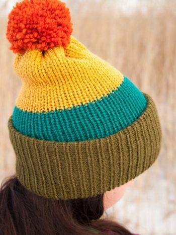 WarmSquirrel Beanie Knitted Colorblock Green Teal Mustard Orange 1065